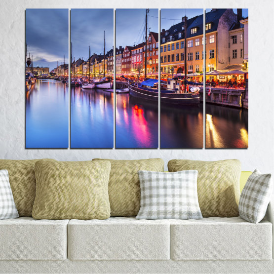 Canvas prints & wall decorative panels - 5 pieces №0117 » Purple, Blue, Orange, Black, Gray, Dark grey » Water, City, Night, River, Capital, Boat, Denmark Form #2