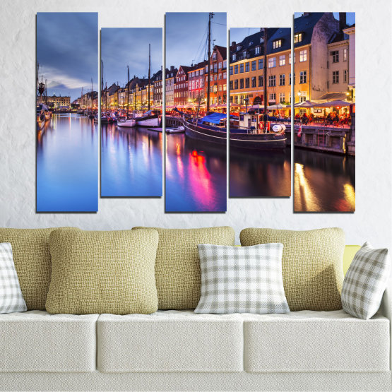 Canvas prints & wall decorative panels - 5 pieces №0117 » Purple, Blue, Orange, Black, Gray, Dark grey » Water, City, Night, River, Capital, Boat, Denmark Form #3