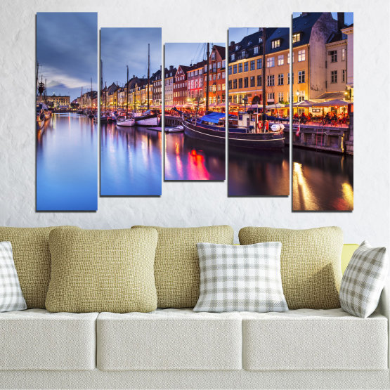 Canvas prints & wall decorative panels - 5 pieces №0117 » Purple, Blue, Orange, Black, Gray, Dark grey » Water, City, Night, River, Capital, Boat, Denmark Form #4