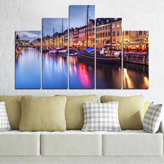 Canvas prints & wall decorative panels - 5 pieces №0117 » Purple, Blue, Orange, Black, Gray, Dark grey » Water, City, Night, River, Capital, Boat, Denmark Form #5