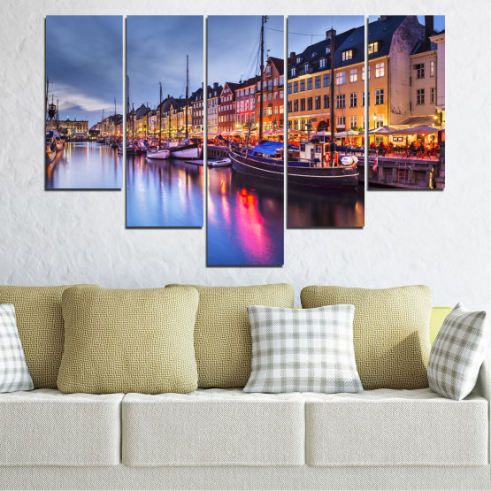 Canvas prints & wall decorative panels - 5 pieces №0117 » Purple, Blue, Orange, Black, Gray, Dark grey » Water, City, Night, River, Capital, Boat, Denmark Form #6