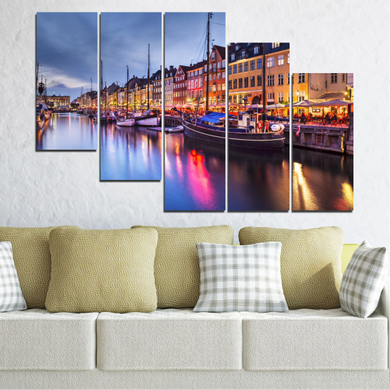 Canvas prints & wall decorative panels - 5 pieces №0117 » Purple, Blue, Orange, Black, Gray, Dark grey » Water, City, Night, River, Capital, Boat, Denmark Form #7