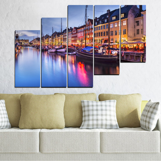 Canvas prints & wall decorative panels - 5 pieces №0117 » Purple, Blue, Orange, Black, Gray, Dark grey » Water, City, Night, River, Capital, Boat, Denmark Form #8