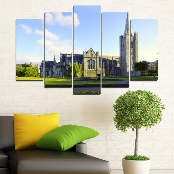 Canvas prints & wall decorative panels - 5 pieces №0118 » Blue, Green, Black, Gray, White, Dark grey » City, Castle, Capital, Ireland Form #1