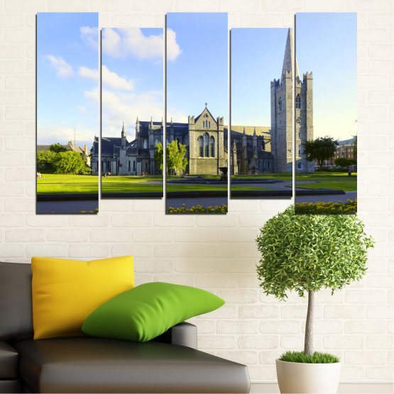 Canvas prints & wall decorative panels - 5 pieces №0118 » Blue, Green, Black, Gray, White, Dark grey » City, Castle, Capital, Ireland Form #3