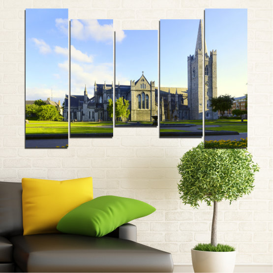 Canvas prints & wall decorative panels - 5 pieces №0118 » Blue, Green, Black, Gray, White, Dark grey » City, Castle, Capital, Ireland Form #4
