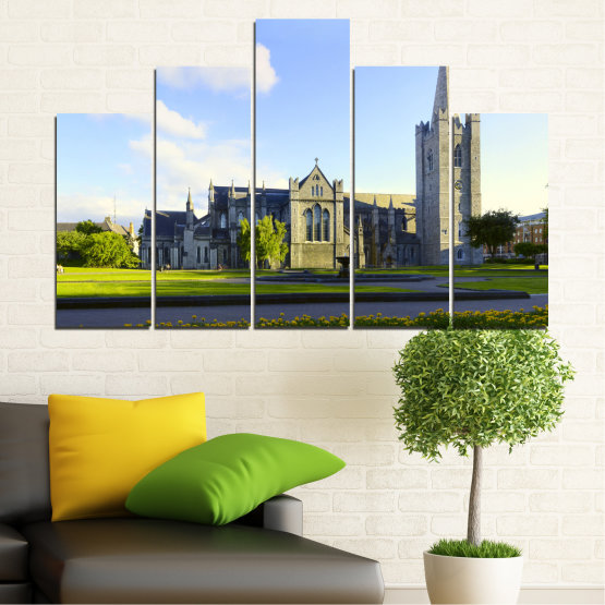 Canvas prints & wall decorative panels - 5 pieces №0118 » Blue, Green, Black, Gray, White, Dark grey » City, Castle, Capital, Ireland Form #5