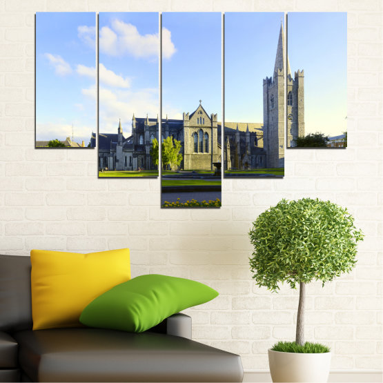 Canvas prints & wall decorative panels - 5 pieces №0118 » Blue, Green, Black, Gray, White, Dark grey » City, Castle, Capital, Ireland Form #6