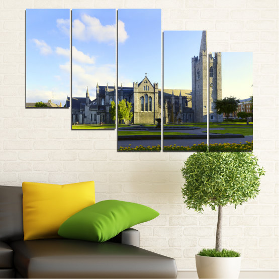Canvas prints & wall decorative panels - 5 pieces №0118 » Blue, Green, Black, Gray, White, Dark grey » City, Castle, Capital, Ireland Form #7