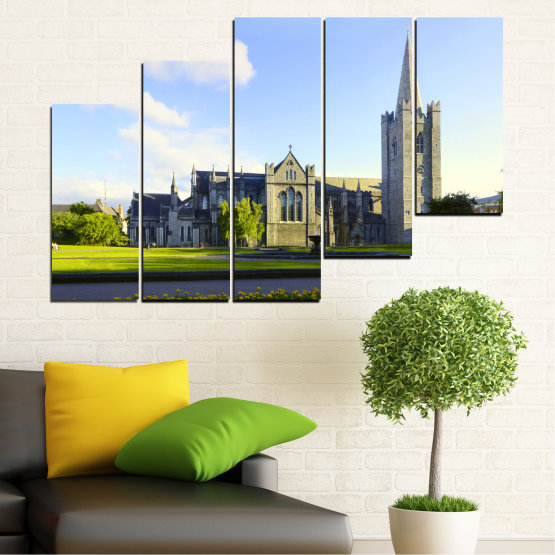 Canvas prints & wall decorative panels - 5 pieces №0118 » Blue, Green, Black, Gray, White, Dark grey » City, Castle, Capital, Ireland Form #8