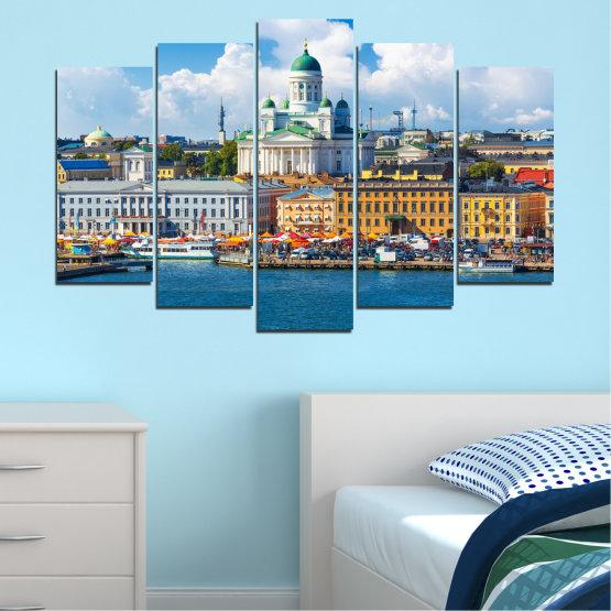Декоративни панели и картини от канава - от 5 части №0119 » Син, Сив, Тъмно сив » Небе, Европа, Хелзинки Form #1