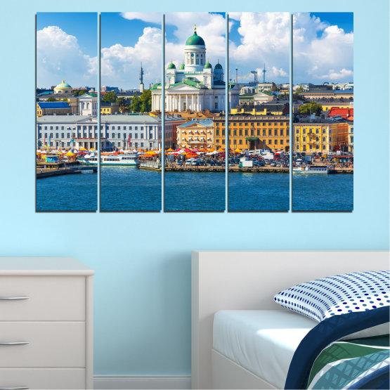 Декоративни панели и картини от канава - от 5 части №0119 » Син, Сив, Тъмно сив » Небе, Европа, Хелзинки Form #2