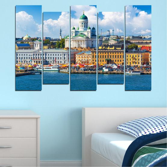 Декоративни панели и картини от канава - от 5 части №0119 » Син, Сив, Тъмно сив » Небе, Европа, Хелзинки Form #3