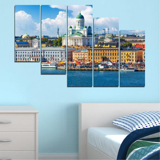 Декоративни панели и картини от канава - от 5 части №0119 » Син, Сив, Тъмно сив » Небе, Европа, Хелзинки Form #7