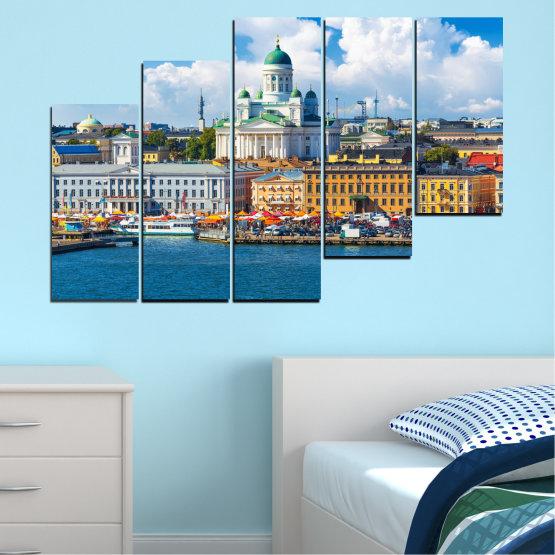 Декоративни панели и картини от канава - от 5 части №0119 » Син, Сив, Тъмно сив » Небе, Европа, Хелзинки Form #8