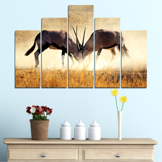 Canvas prints & wall decorative panels - 5 pieces №0012 » Orange, Brown, Gray, White, Beige » Animal, Africa, Antelope Form #5