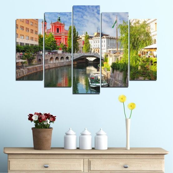 Canvas prints & wall decorative panels - 5 pieces №0121 » Turquoise, Brown, Gray, Dark grey » City, Sky, Venice, Europe, Boat, Ljubljana Form #1