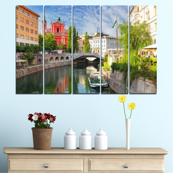 Canvas prints & wall decorative panels - 5 pieces №0121 » Turquoise, Brown, Gray, Dark grey » City, Sky, Venice, Europe, Boat, Ljubljana Form #2