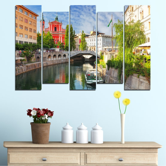 Canvas prints & wall decorative panels - 5 pieces №0121 » Turquoise, Brown, Gray, Dark grey » City, Sky, Venice, Europe, Boat, Ljubljana Form #3