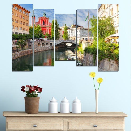 Canvas prints & wall decorative panels - 5 pieces №0121 » Turquoise, Brown, Gray, Dark grey » City, Sky, Venice, Europe, Boat, Ljubljana Form #4