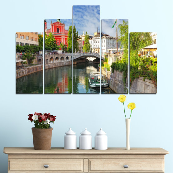 Canvas prints & wall decorative panels - 5 pieces №0121 » Turquoise, Brown, Gray, Dark grey » City, Sky, Venice, Europe, Boat, Ljubljana Form #5