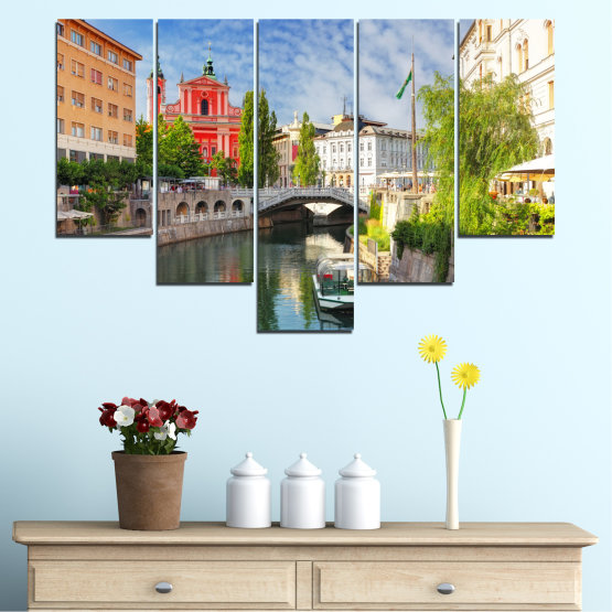Canvas prints & wall decorative panels - 5 pieces №0121 » Turquoise, Brown, Gray, Dark grey » City, Sky, Venice, Europe, Boat, Ljubljana Form #6