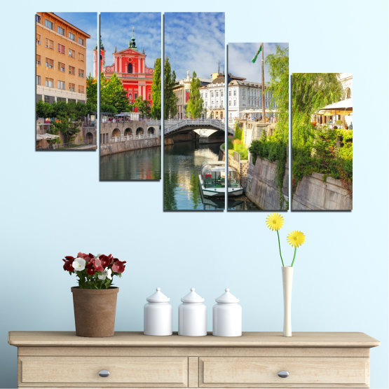 Canvas prints & wall decorative panels - 5 pieces №0121 » Turquoise, Brown, Gray, Dark grey » City, Sky, Venice, Europe, Boat, Ljubljana Form #7