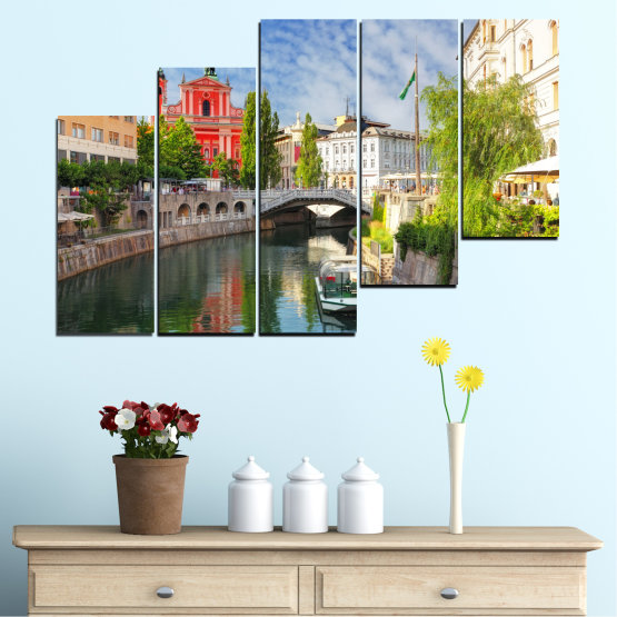 Canvas prints & wall decorative panels - 5 pieces №0121 » Turquoise, Brown, Gray, Dark grey » City, Sky, Venice, Europe, Boat, Ljubljana Form #8