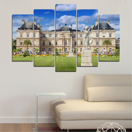 Canvas prints & wall decorative panels - 5 pieces №0122 » Blue, Green, Brown, Gray, Beige » City, Castle, Capital, Luxembourg Form #1