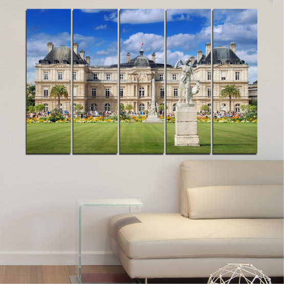 Canvas prints & wall decorative panels - 5 pieces №0122 » Blue, Green, Brown, Gray, Beige » City, Castle, Capital, Luxembourg Form #2