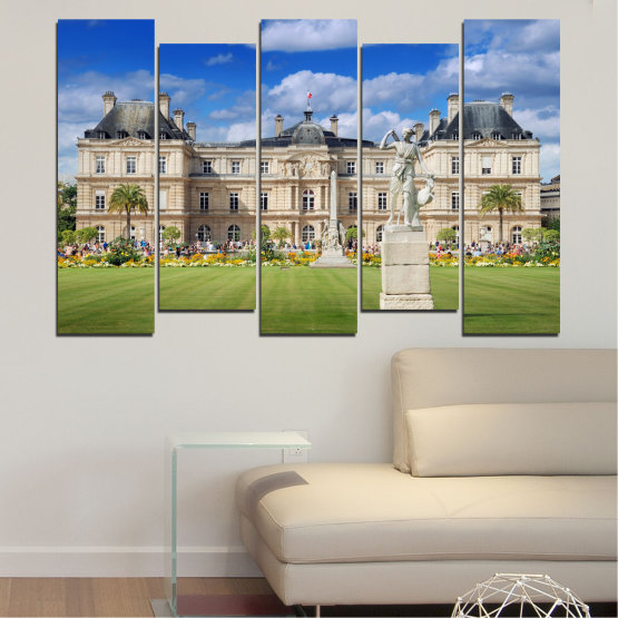 Canvas prints & wall decorative panels - 5 pieces №0122 » Blue, Green, Brown, Gray, Beige » City, Castle, Capital, Luxembourg Form #3
