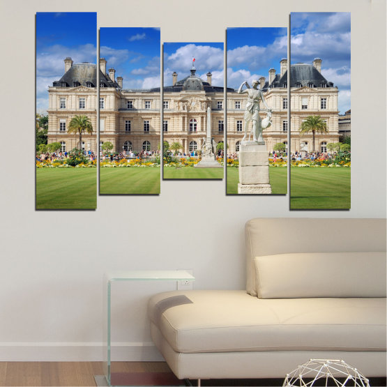 Canvas prints & wall decorative panels - 5 pieces №0122 » Blue, Green, Brown, Gray, Beige » City, Castle, Capital, Luxembourg Form #4
