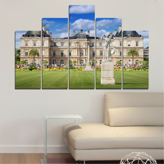 Canvas prints & wall decorative panels - 5 pieces №0122 » Blue, Green, Brown, Gray, Beige » City, Castle, Capital, Luxembourg Form #5