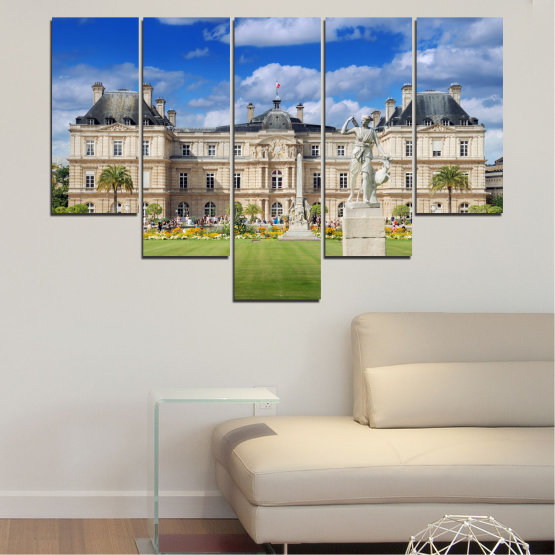 Canvas prints & wall decorative panels - 5 pieces №0122 » Blue, Green, Brown, Gray, Beige » City, Castle, Capital, Luxembourg Form #6