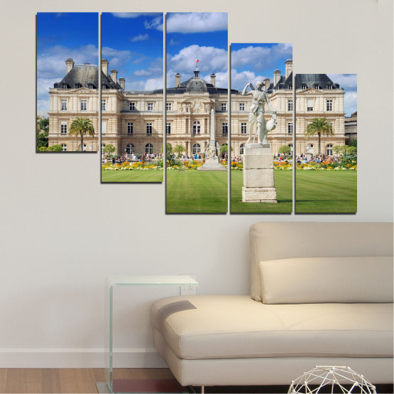 Canvas prints & wall decorative panels - 5 pieces №0122 » Blue, Green, Brown, Gray, Beige » City, Castle, Capital, Luxembourg Form #7