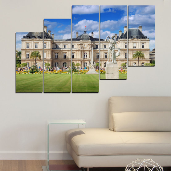 Canvas prints & wall decorative panels - 5 pieces №0122 » Blue, Green, Brown, Gray, Beige » City, Castle, Capital, Luxembourg Form #8