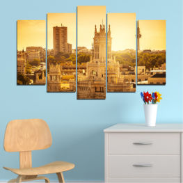 City, Sunrise, Spain, Capital » Yellow, Orange, Brown, Beige