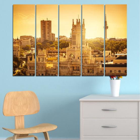 Canvas prints & wall decorative panels - 5 pieces №0123 » Yellow, Orange, Brown, Beige » City, Sunrise, Capital, Spain Form #2