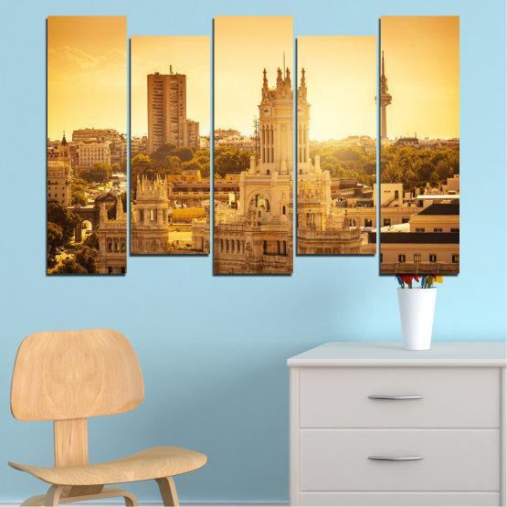 Canvas prints & wall decorative panels - 5 pieces №0123 » Yellow, Orange, Brown, Beige » City, Sunrise, Capital, Spain Form #3