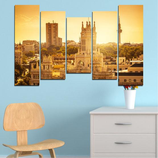 Canvas prints & wall decorative panels - 5 pieces №0123 » Yellow, Orange, Brown, Beige » City, Sunrise, Capital, Spain Form #4