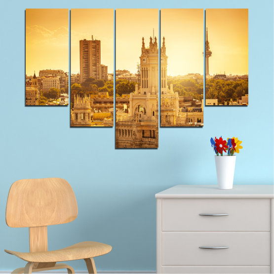 Canvas prints & wall decorative panels - 5 pieces №0123 » Yellow, Orange, Brown, Beige » City, Sunrise, Capital, Spain Form #6