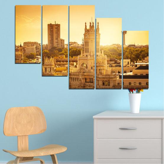 Canvas prints & wall decorative panels - 5 pieces №0123 » Yellow, Orange, Brown, Beige » City, Sunrise, Capital, Spain Form #7