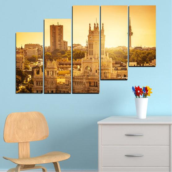Canvas prints & wall decorative panels - 5 pieces №0123 » Yellow, Orange, Brown, Beige » City, Sunrise, Capital, Spain Form #8