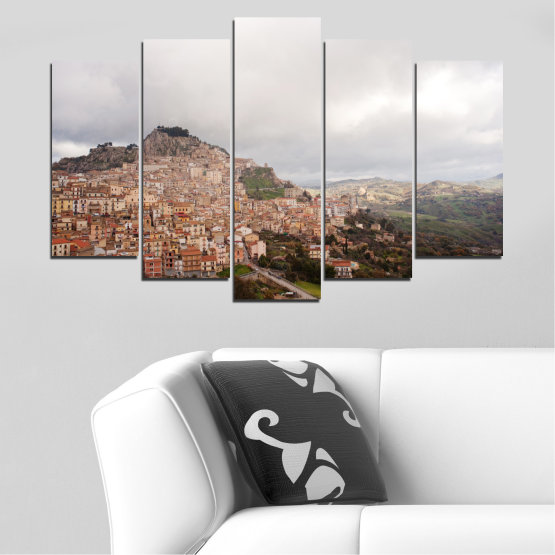 Canvas prints & wall decorative panels - 5 pieces №0124 » Brown, Gray, White, Dark grey » Landscape, Europe, Nicosia Form #1