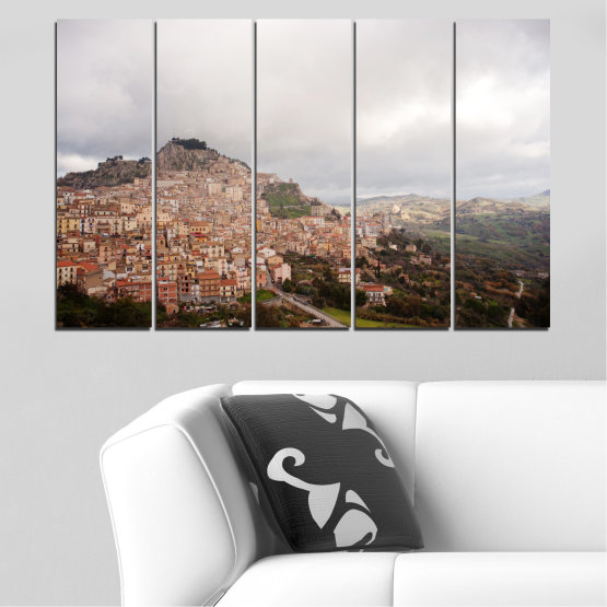 Canvas prints & wall decorative panels - 5 pieces №0124 » Brown, Gray, White, Dark grey » Landscape, Europe, Nicosia Form #2