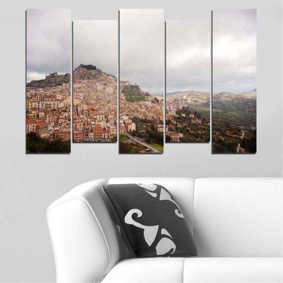 Canvas prints & wall decorative panels - 5 pieces №0124 » Brown, Gray, White, Dark grey » Landscape, Europe, Nicosia Form #3