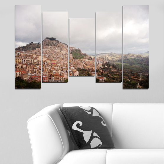 Canvas prints & wall decorative panels - 5 pieces №0124 » Brown, Gray, White, Dark grey » Landscape, Europe, Nicosia Form #4