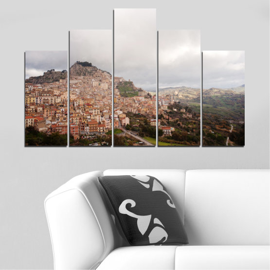 Canvas prints & wall decorative panels - 5 pieces №0124 » Brown, Gray, White, Dark grey » Landscape, Europe, Nicosia Form #5