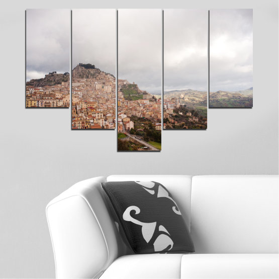 Декоративни панели и картини от канава - от 5 части №0124 » Кафяв, Сив, Бял, Тъмно сив » Пейзаж, Европа, Никозия Form #6