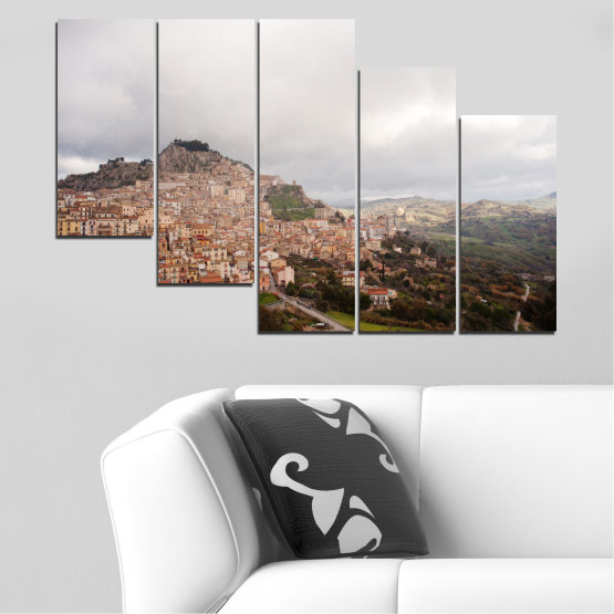 Canvas prints & wall decorative panels - 5 pieces №0124 » Brown, Gray, White, Dark grey » Landscape, Europe, Nicosia Form #7